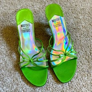 Lime green open toe mules